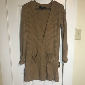 Forever 21 long tan ribbed button down cardigan SM